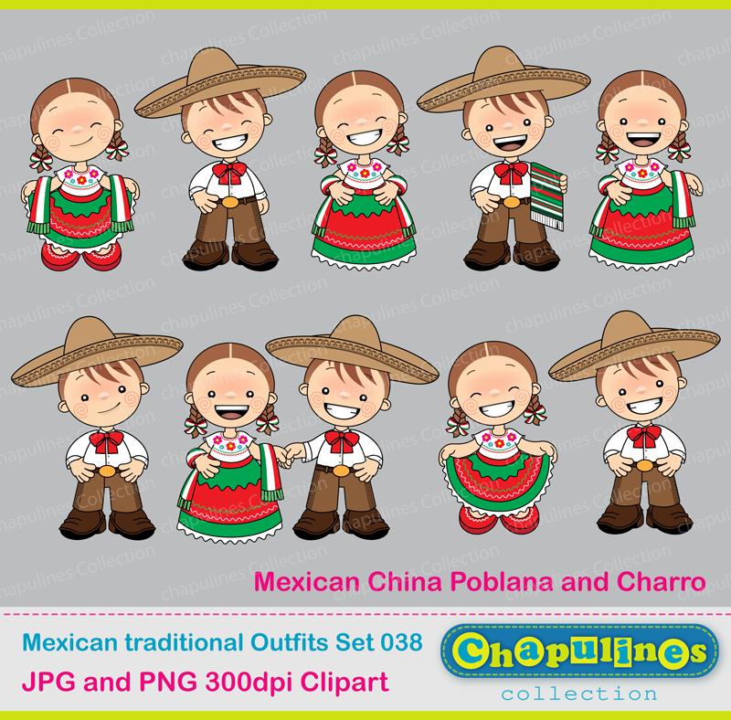 dibujos animados de trajes tipicos de mexico