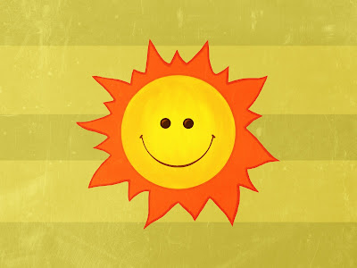Happy sun cute smiling character on green striped background