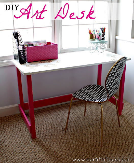 diy art desk with gold accents
