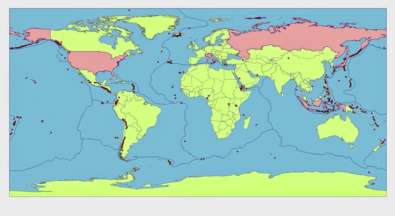 those are indonesia usa japan russia and italy notice that each of these countries surround the pacific plate