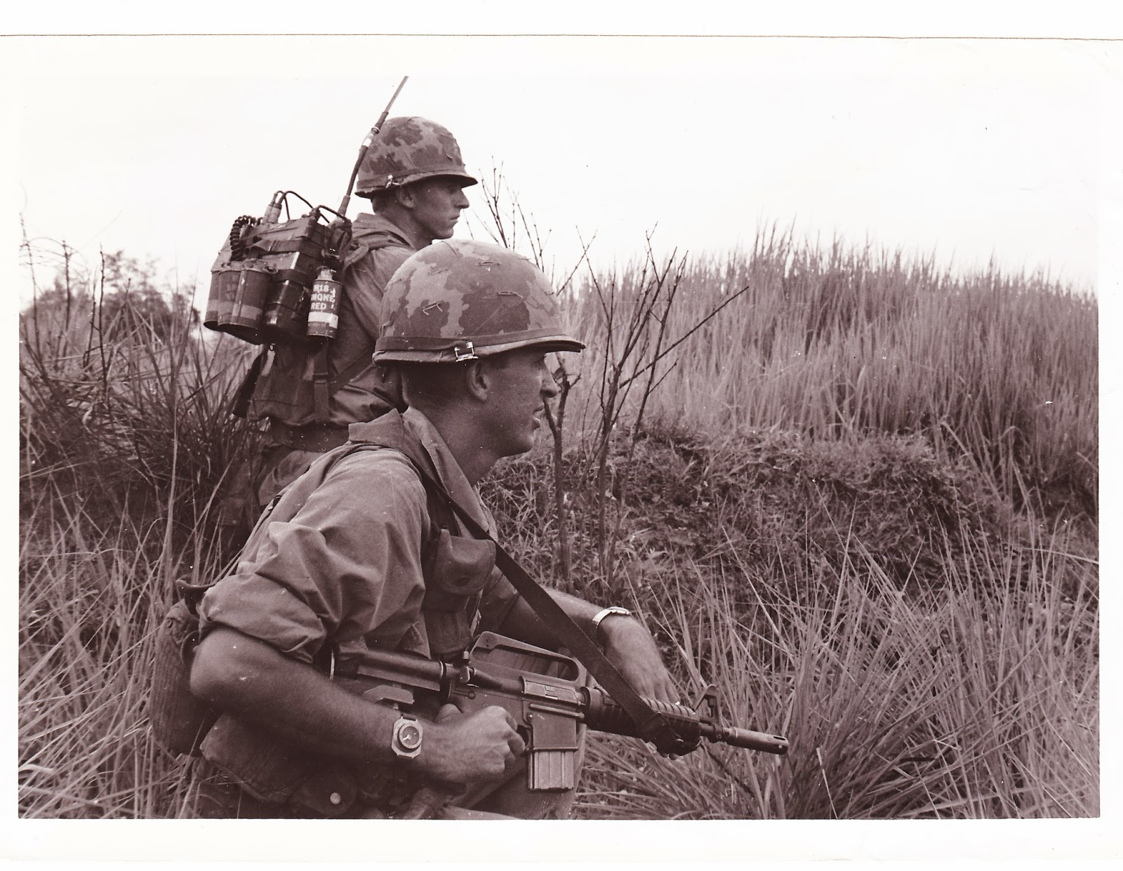 Dad (top) and Lieutenant Phil Hendrix while on a mission near Da Nang  #422E2D