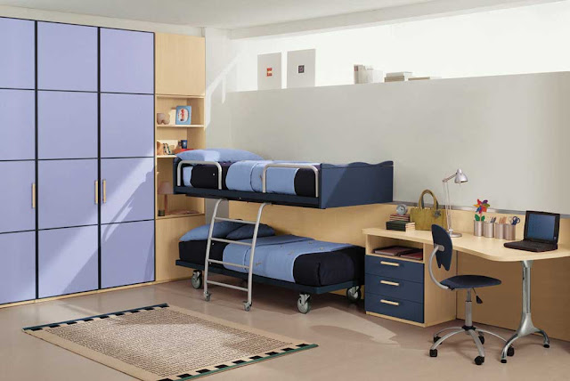 the-Kids-Bedroom-Interior-Design-With-Modern-Furniture-Also-Simple-Bedroom-Furniture-Purple-And-Brown-Color-boy-girl