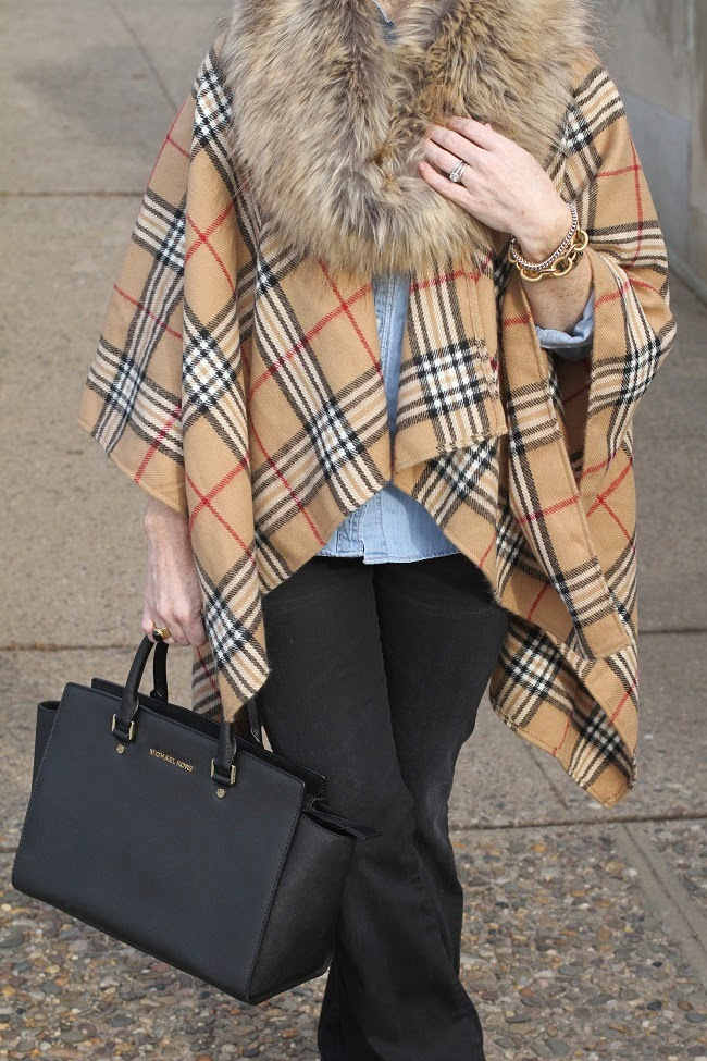 faux fur scarf, plaid wrap, citizens of humanity flare jeans, michael kors handbag, saint laurent
