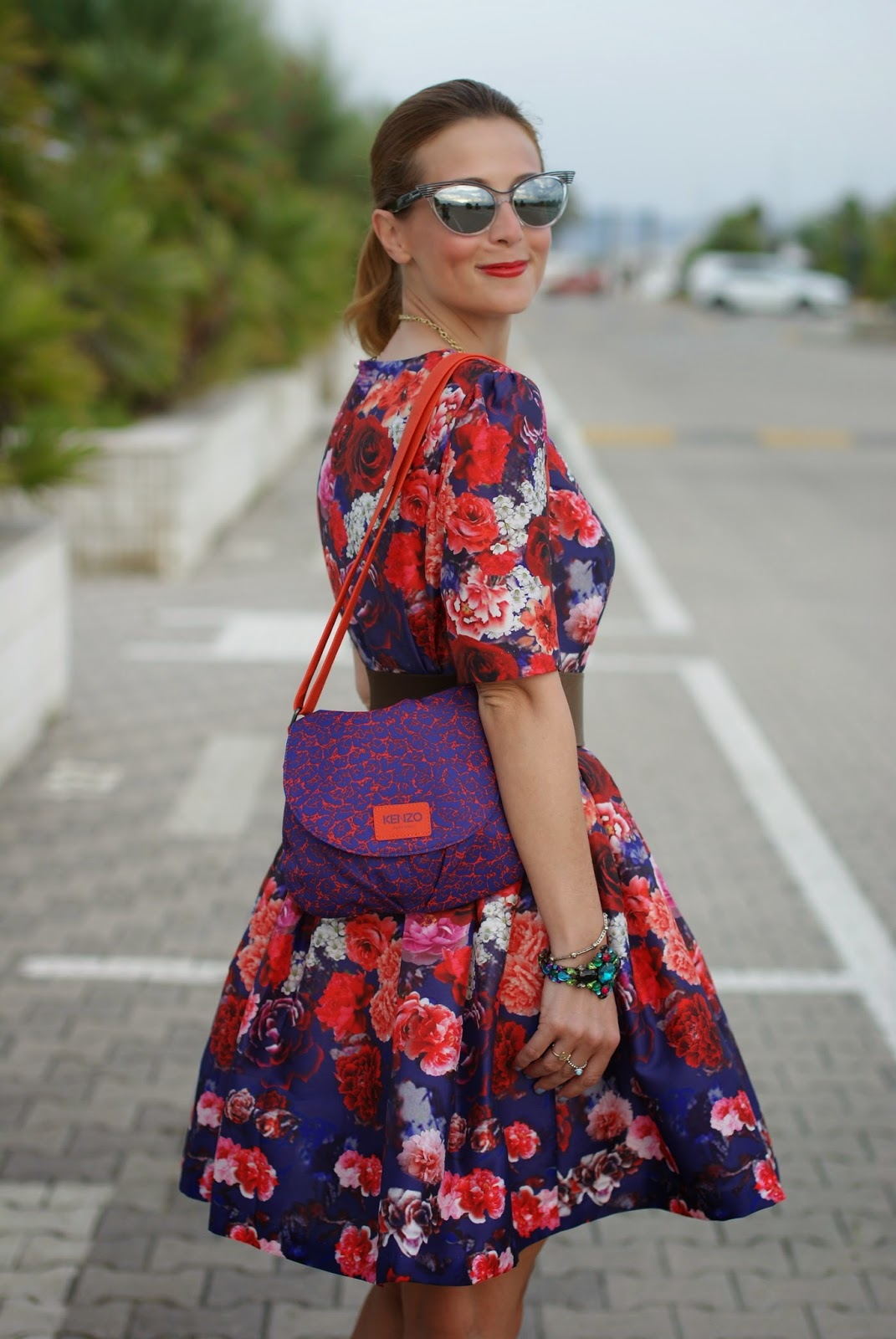 Chicwish blooming red roses dress, Kenzo bag, Fashion and Cookies, fashion blogger