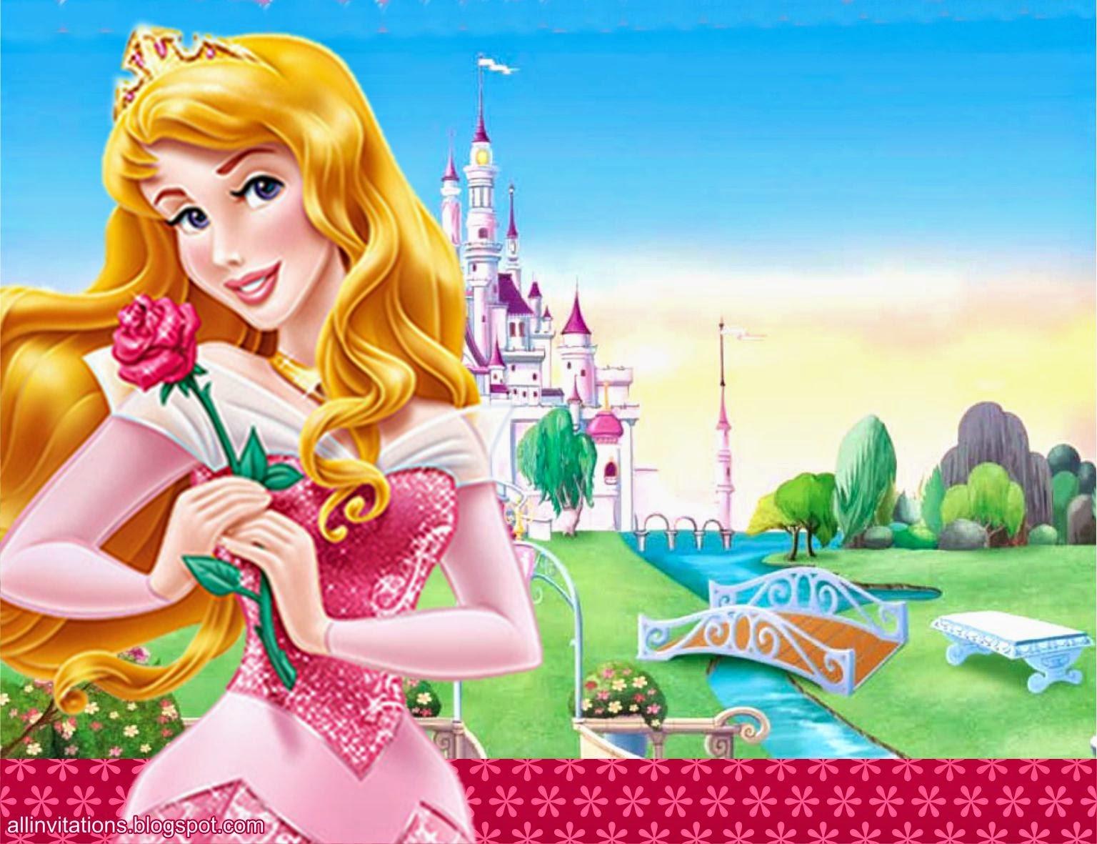 Plantilla para invitación con el tema de la Princesa Aurora