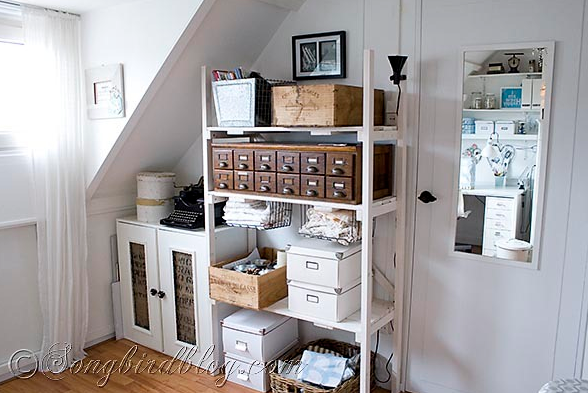 Vintage inspired white craft room by Songbird via I Love That Junk