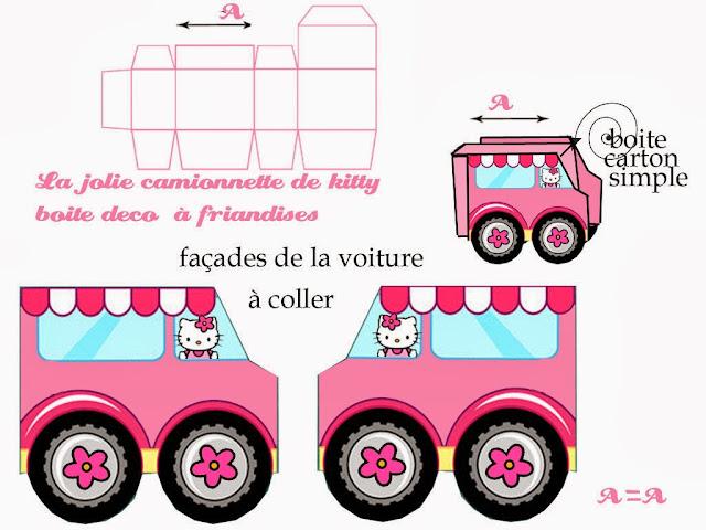 Caja de Coche de Hello Kitty para Imprimir Gratis.