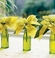 cream green poinsettias  green bottles Christmas table