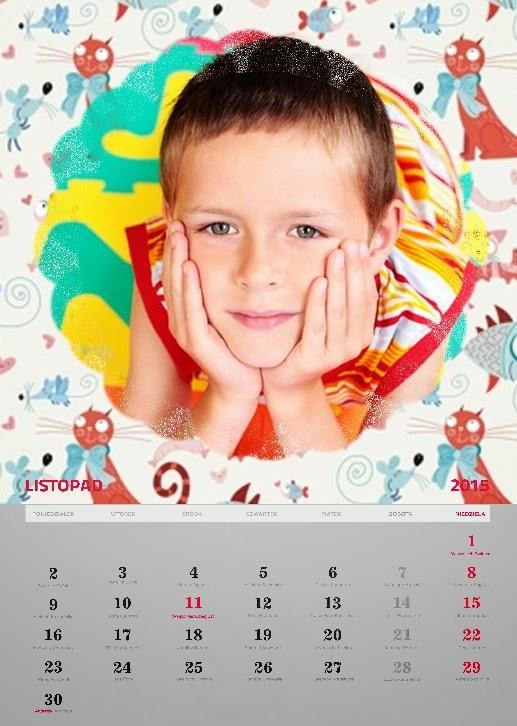 kolorowy szablon fotokalendarza