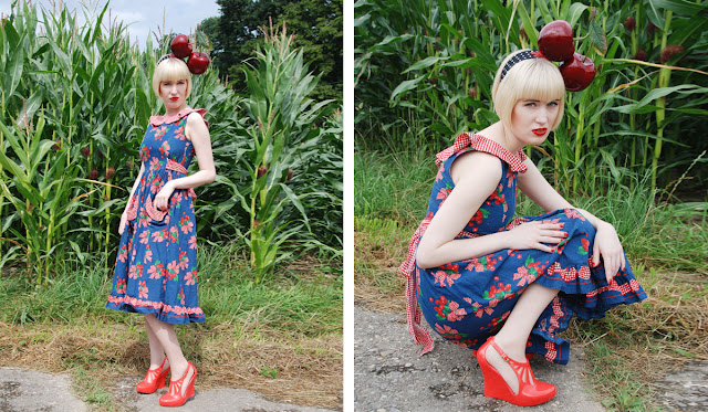 cherry fascinator, Pearls and Swine, Melissa shoes, Dotti's