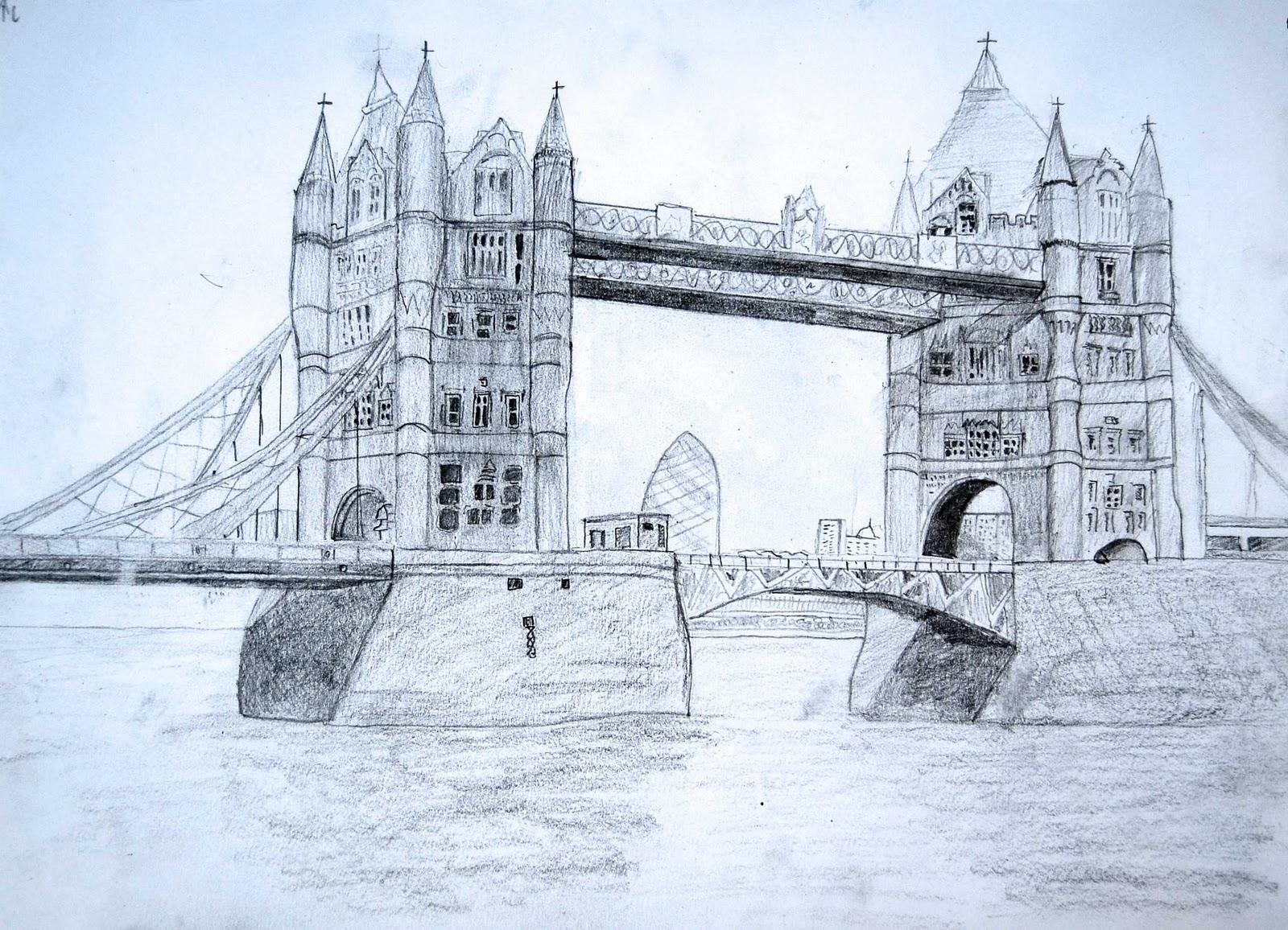 Claireu0026#39;s Art Tower Bridge Sketch - London