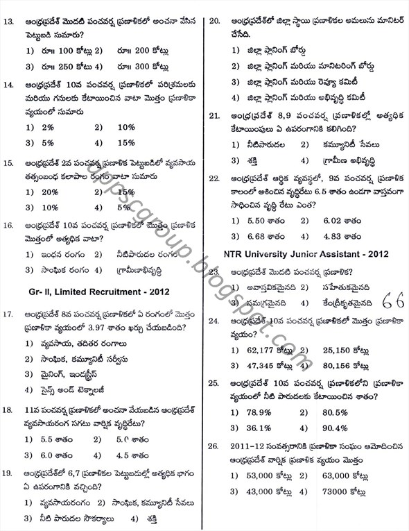 Previous Questions from Andhra Economy Chapter 2 Paper 3 - for APPSC Group 2