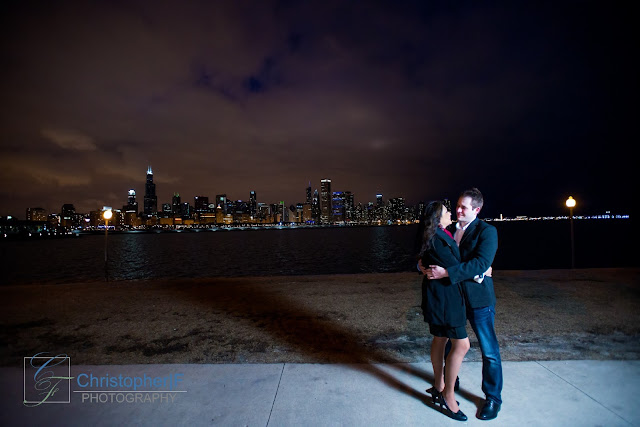 Chicago Skyline at Adler Engagement Photograph