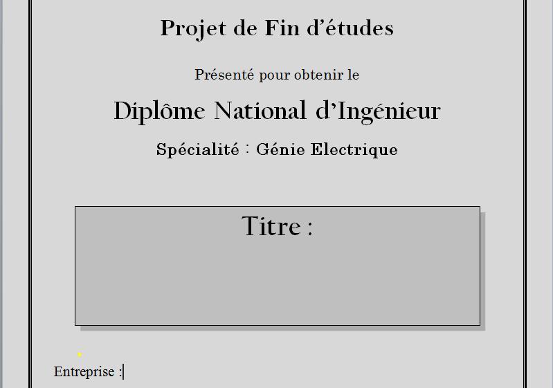 Bien connu docx] Page de Garde PFE Génie Electrique - RapportDeStage EO39