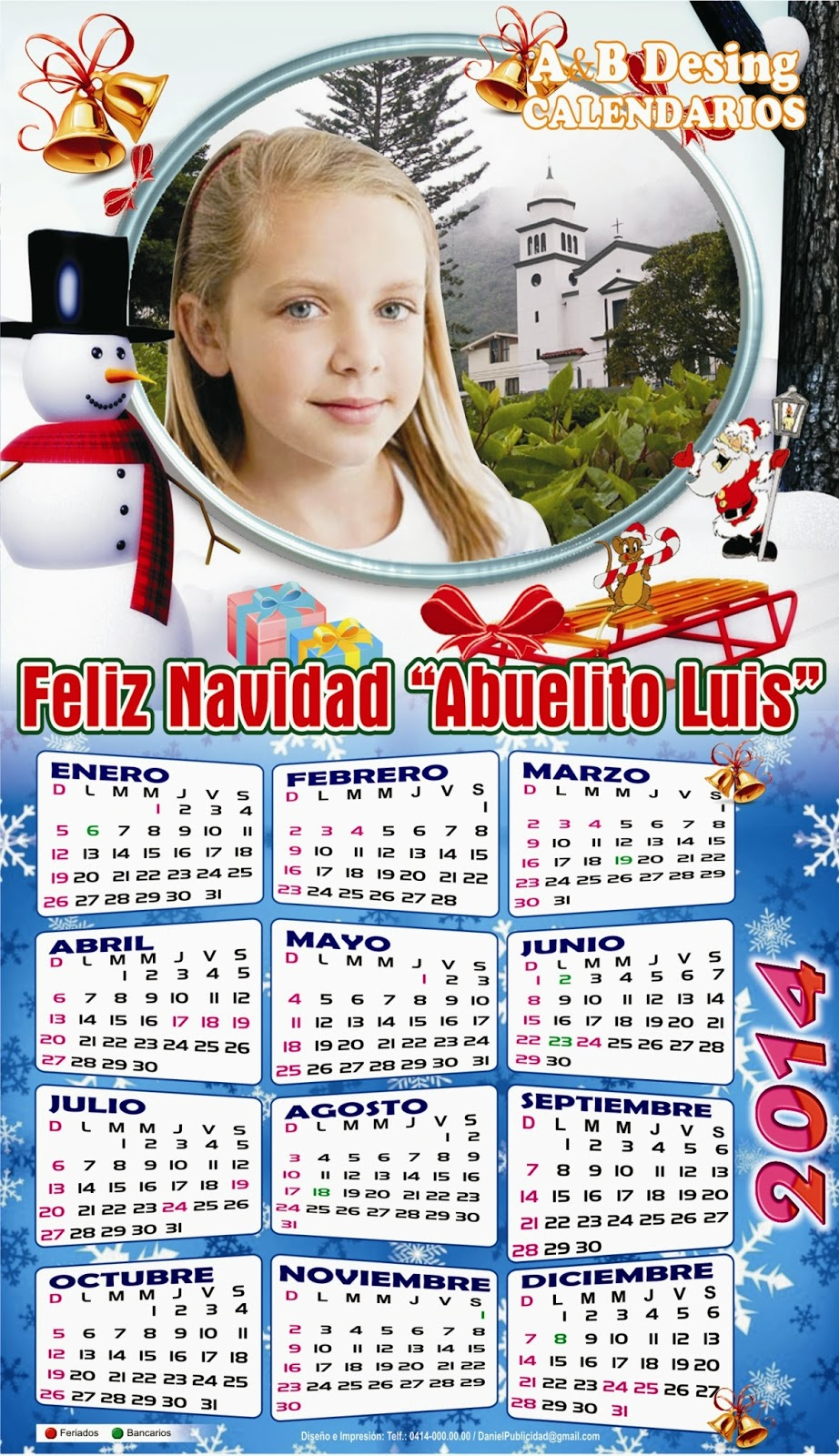 Calendarios personalizados - Calendarios navidenos personalizados ...