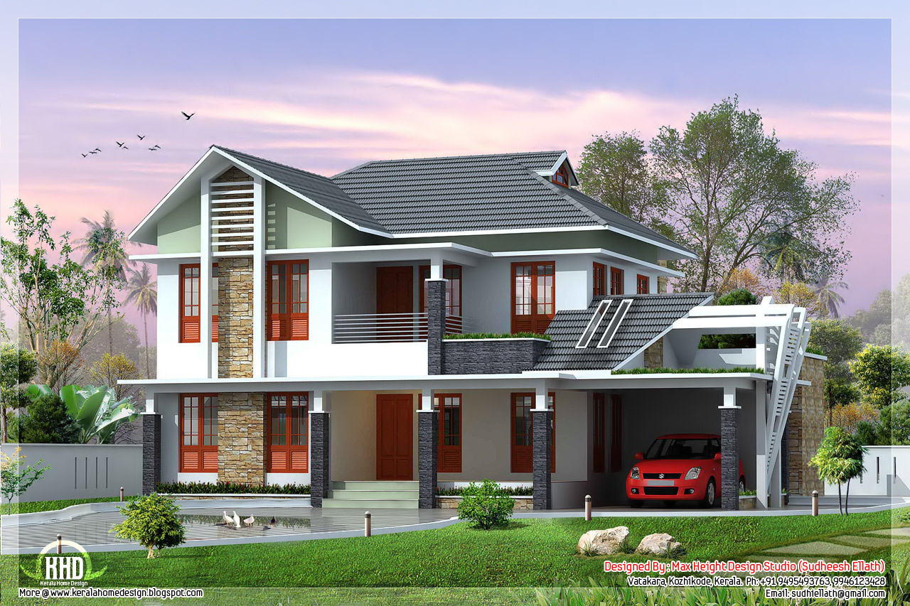 2 beautiful villa elevation designs in 2700 for Villa plans and designs