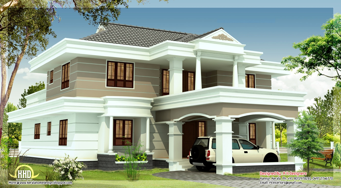 2540 sq feet beautiful house elevation indian home decor for Beautiful house plans with photos