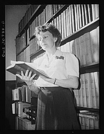 Mrs. Joan Fertig, Hungarian-born librarian at the Westinghouse plant