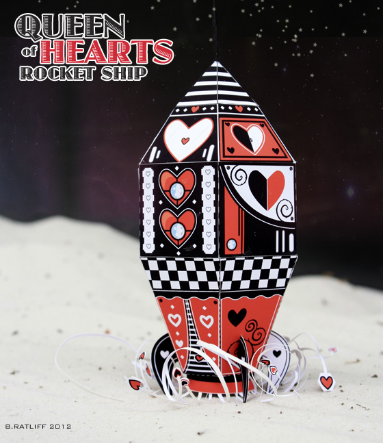 Queen of Hearts Rocket Ship Paper Toy