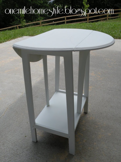 Ivory base coat on accent table