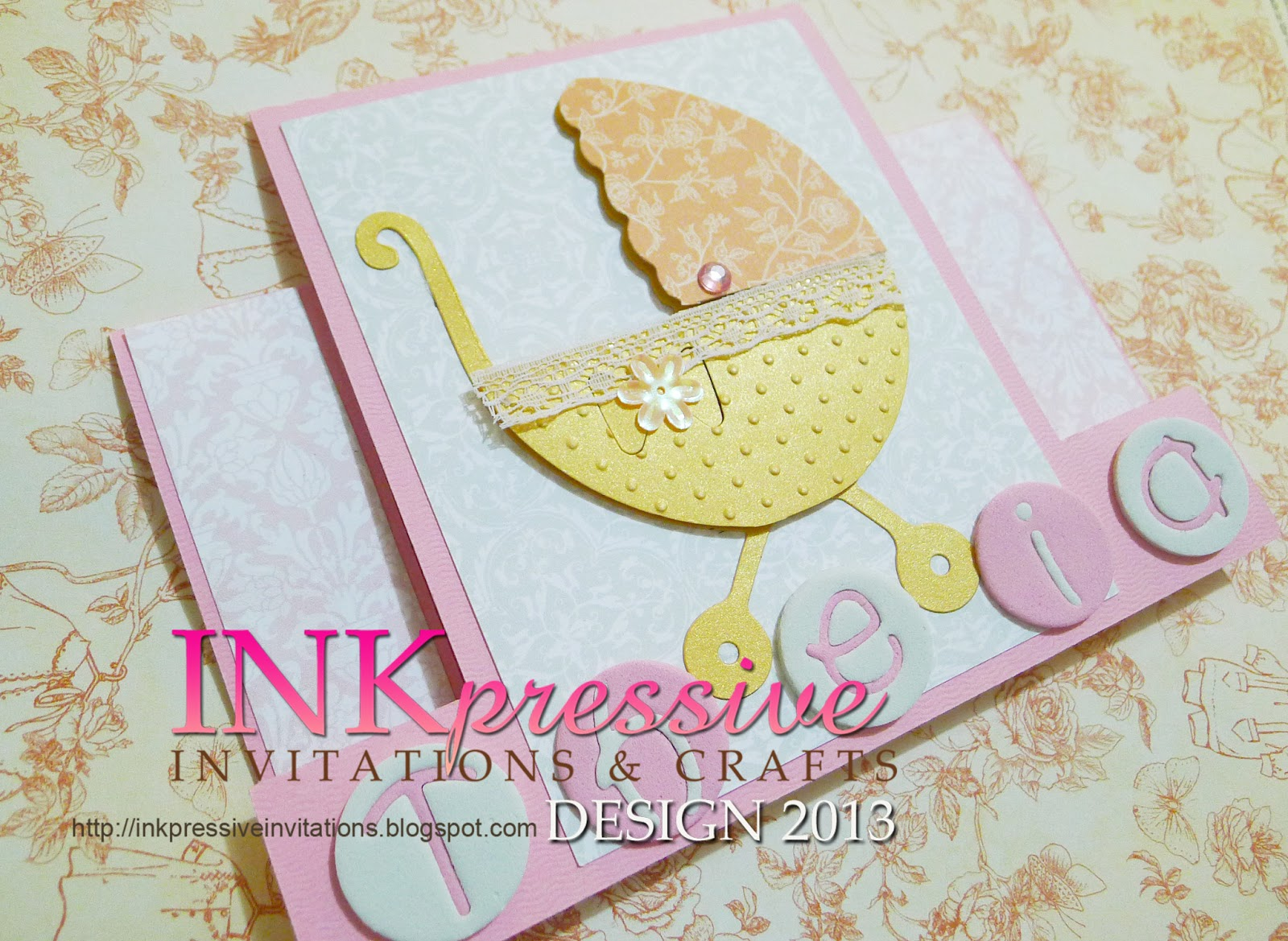 Center Panel Step Card Baby Carriage | INKPRESSIVE INVITATIONS