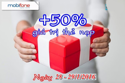 Mobifone khuyến mãi tặng 50% giá trị thẻ nạp ngày 28-29/1