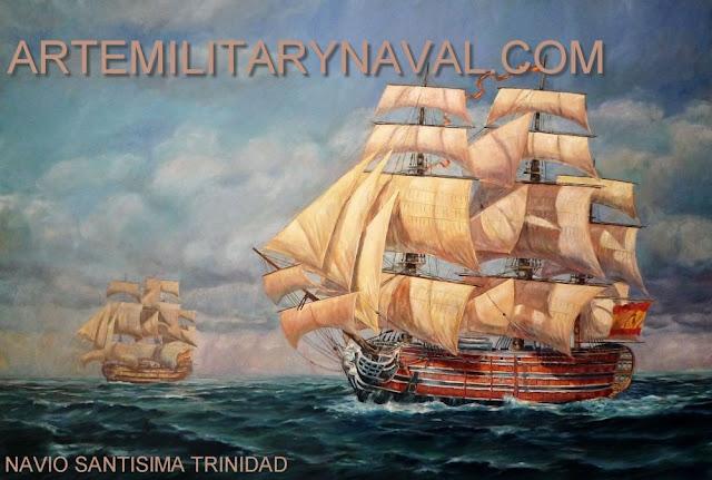 Pintura del navio Santisima Trinidad navegando