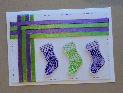 Green and purple Christmas card with ribbon and zentangle stockings