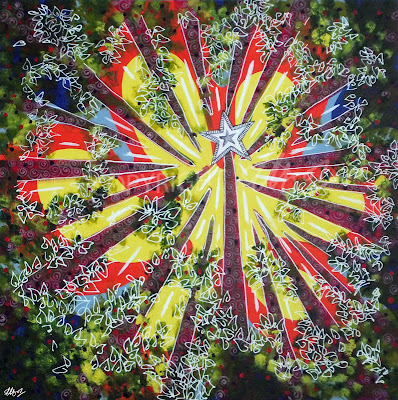 Speared, laura hol art, abstract paintings for sale, up through the trees, trees in perspective