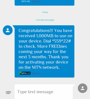 Get New MTN 1000MB (1GB) Imei For Free