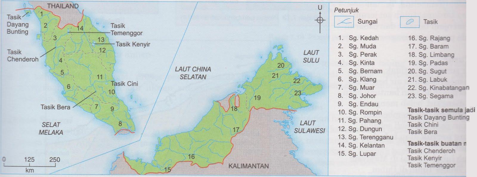 Peta 1 : taburan sungai dan tasik utama di malaysia
