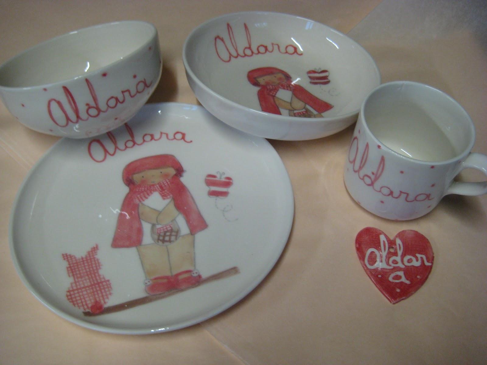 vajillas infantiles personalizadas artesanales pintadas