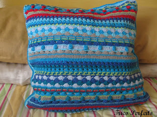 Almofada Jules Multicolorida em crochê