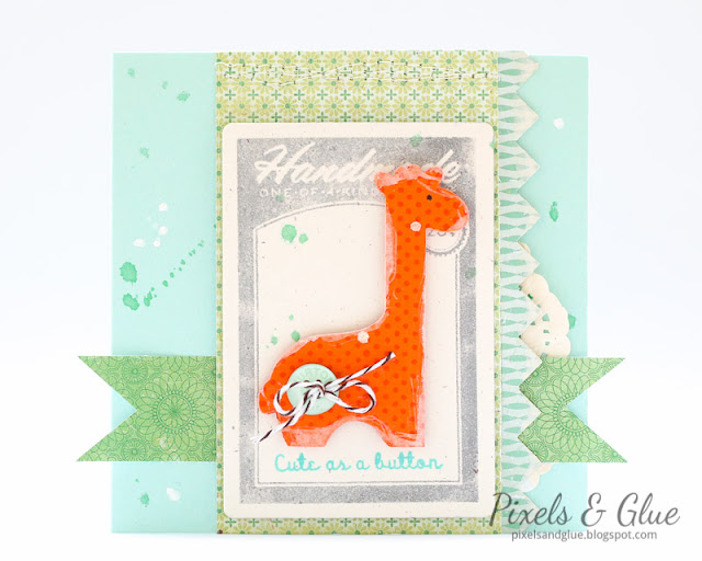 Handmade Baby Birthday Card with die-cut giraffe