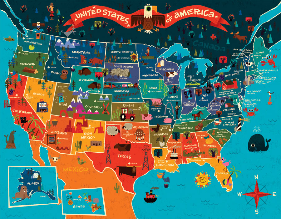 Online Maps: United States Map for Children