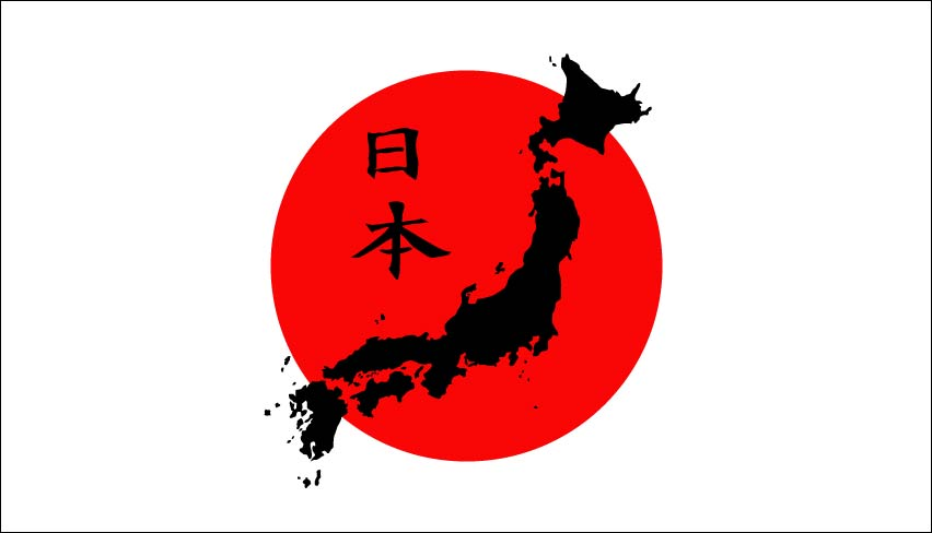 Poppular Photography Silhouette Of Japan Overlaid On Japanese Flag