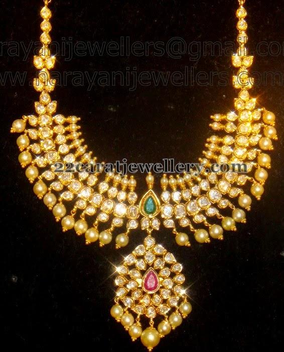 Antique Gold N Jadtar Set: Pachi Set From Narayani Jewellers