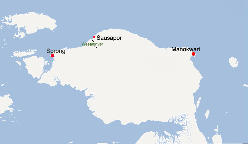 Location of Wesan river and Sausapor town in Tambrauw regency
