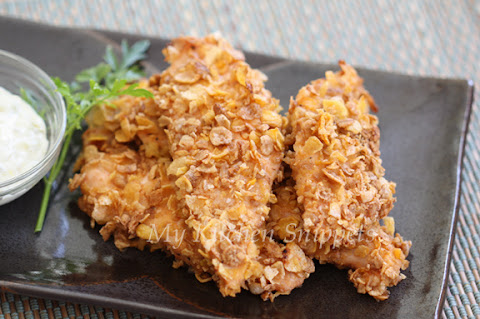 My Kitchen Snippets: Oven Baked Cornflake Crusted Chicken Fingers