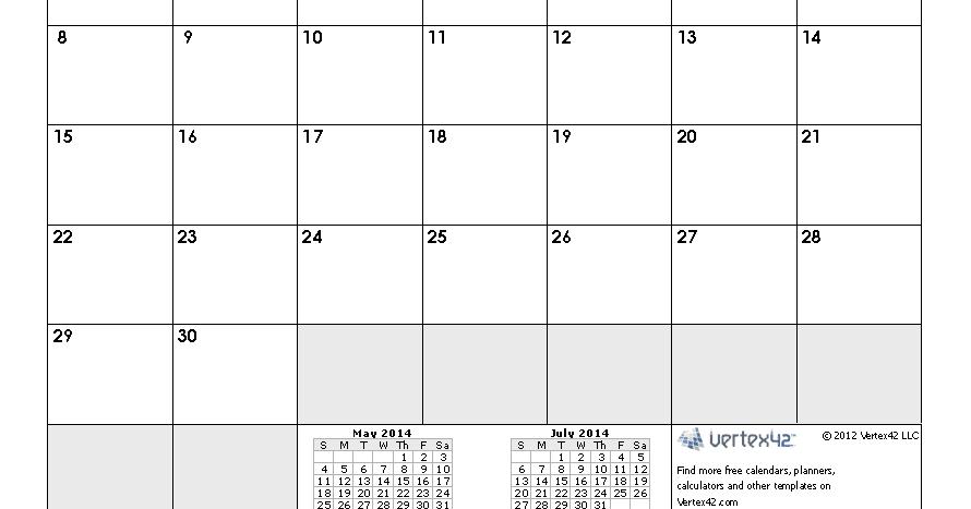 June 2014 Calendar Printable 2 Printable Calendar 2014 Blank