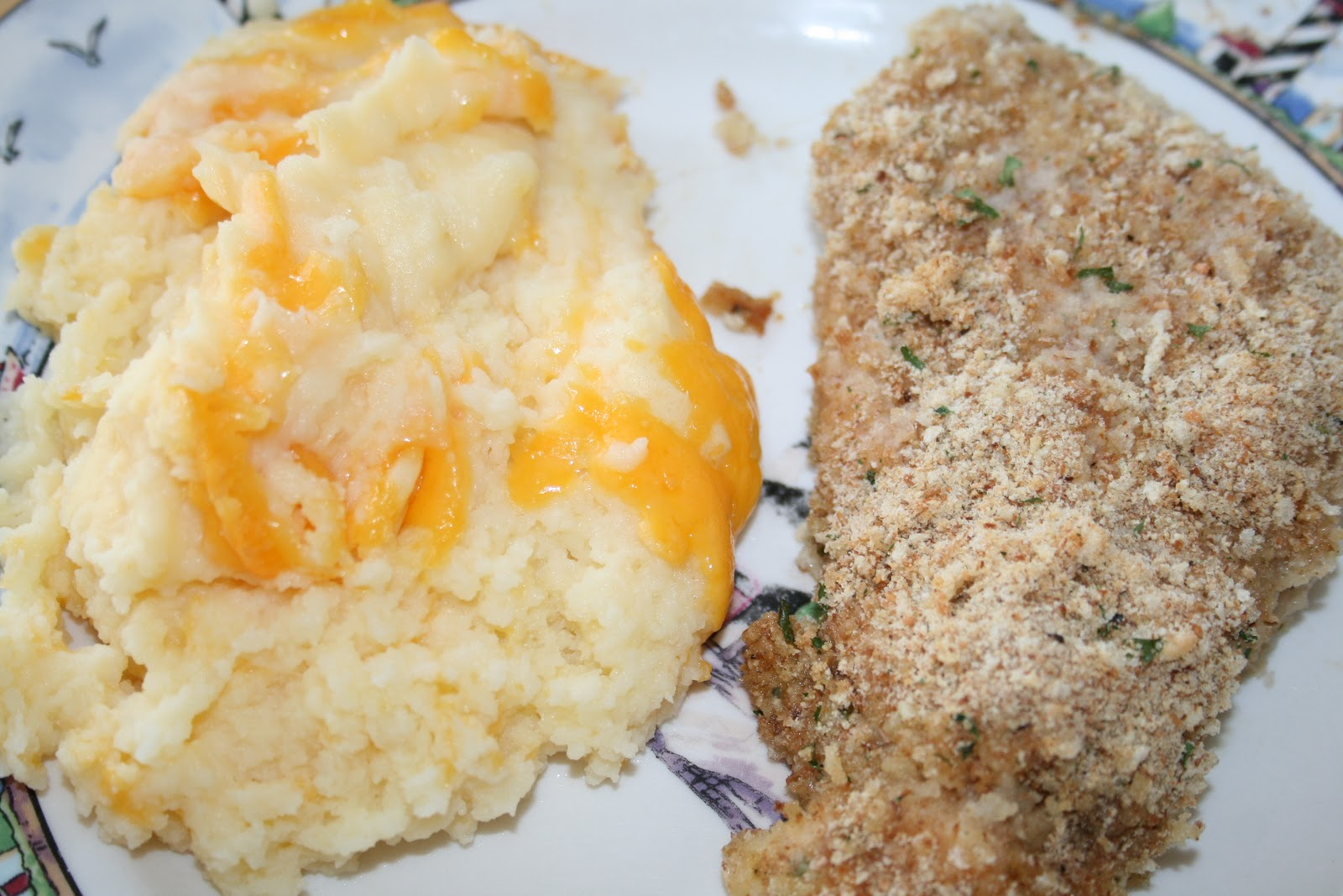 ... Just One Bite!: Parmesan Breaded Chicken and Cheesy Puffed Potatoes