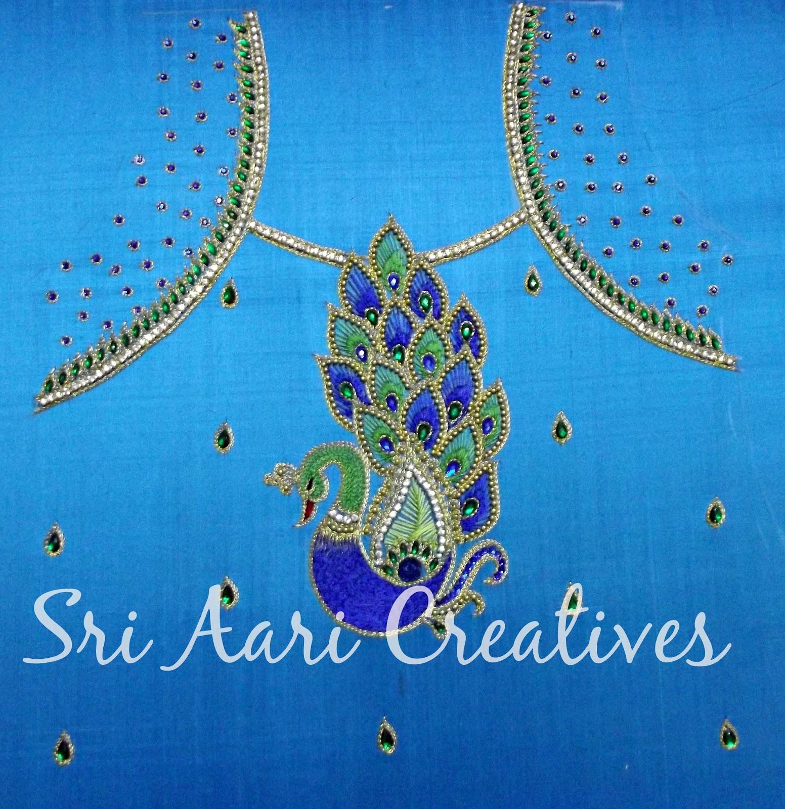 sri aari creatives peacock design aari work for kids top