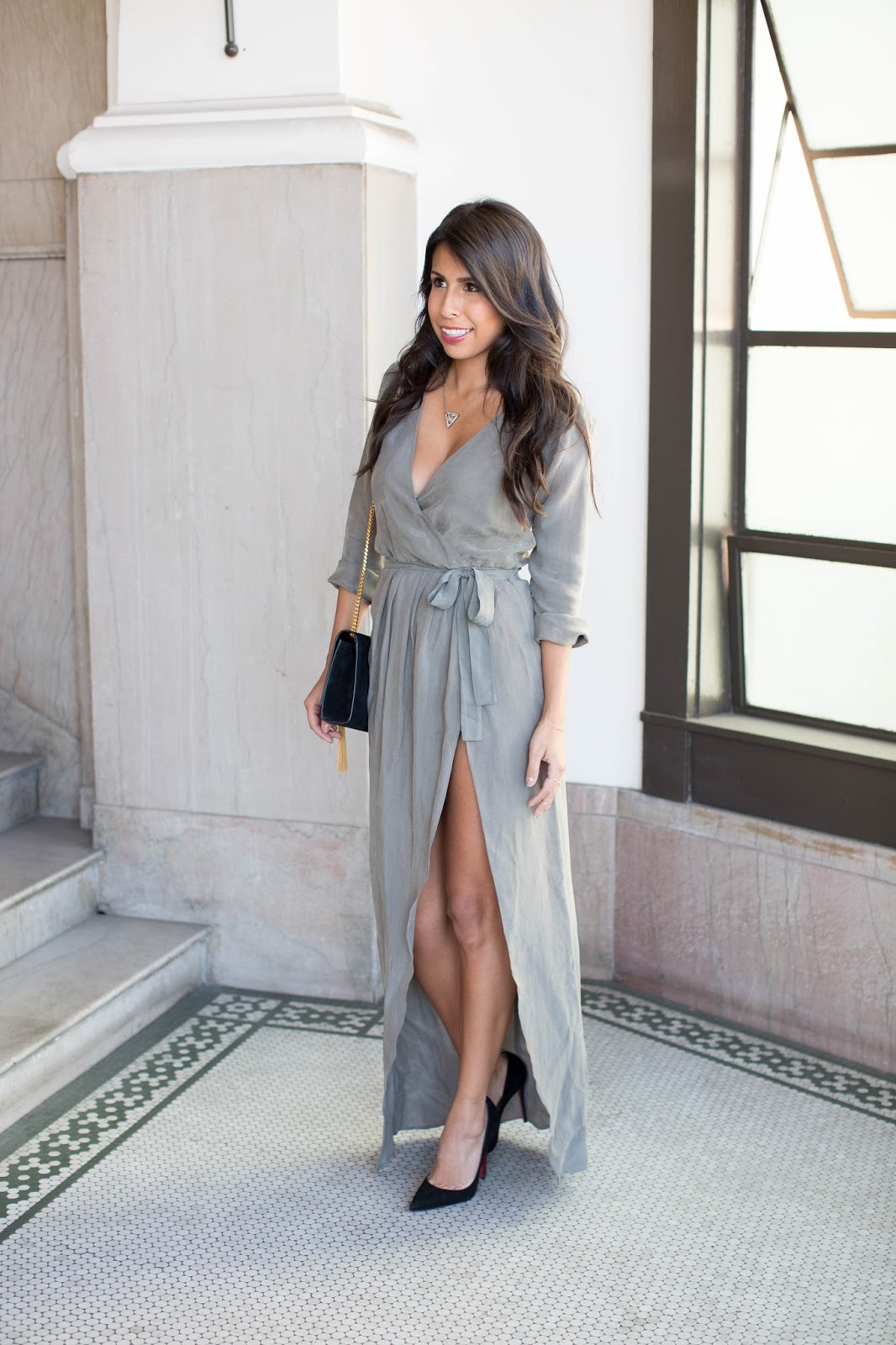 again dress, christian louboutin so kate heels, thigh high slit dress, holiday outfit