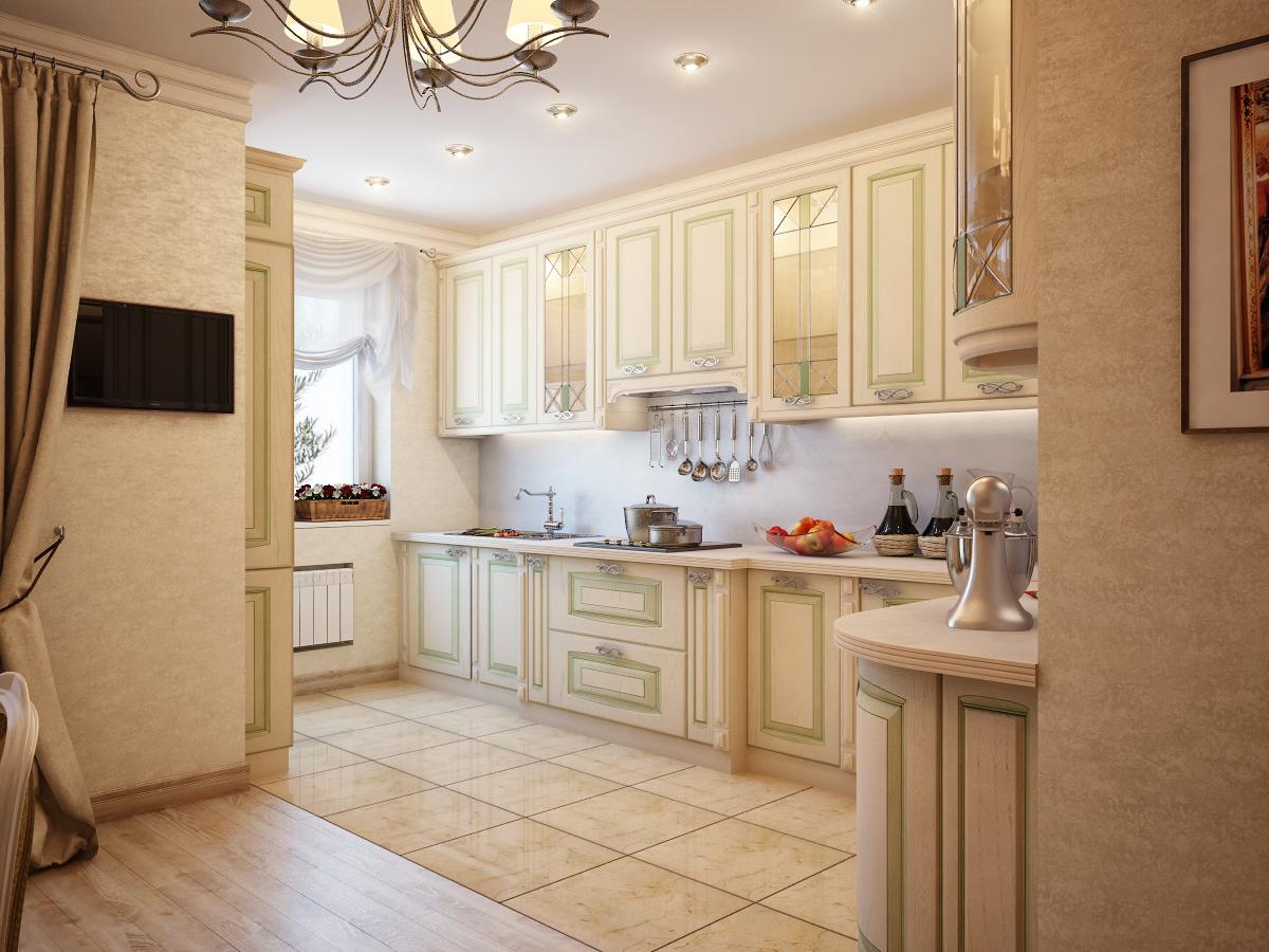 Дизайн маленькой кухни совмещенной с гостиной классика