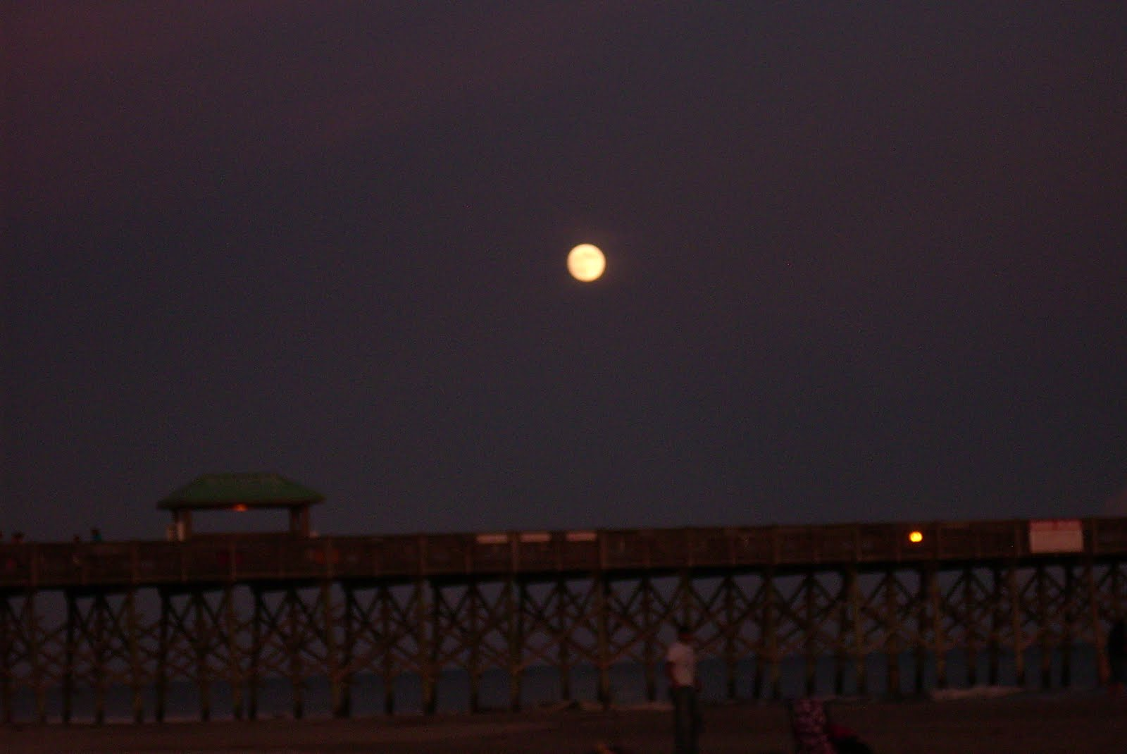 full moon over Folly Beach, SC