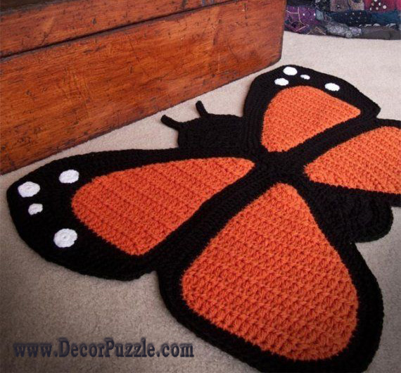 butterfly bathroom rug sets and bath mats 2015 - black and orange bathroom rugs