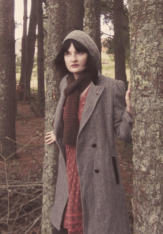 Wool princess coat, gray beret