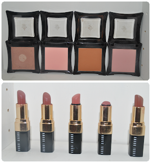 Illamasqua blushers: Zygnomatic, Tremble, Create, Naked Rose.  Bobbi Brown lipsticks: Brownie, Brown, Guava, Soft Rose, Cocoa