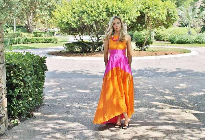 Orange and pink color block maxi dress