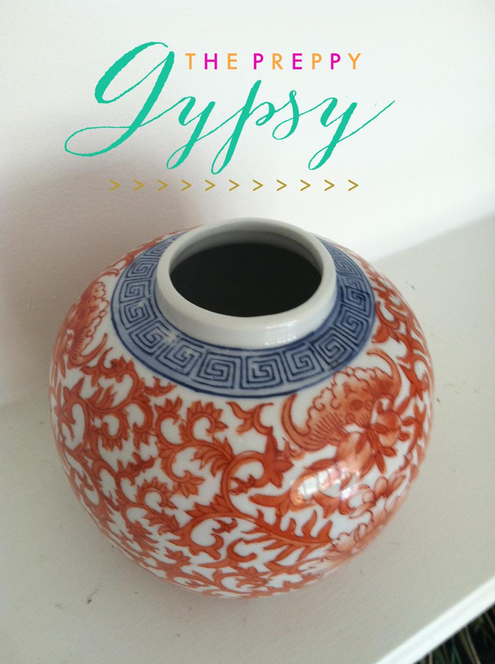 The Preppy Gypsy For Sale Orange Amp Blue Ginger Jar With